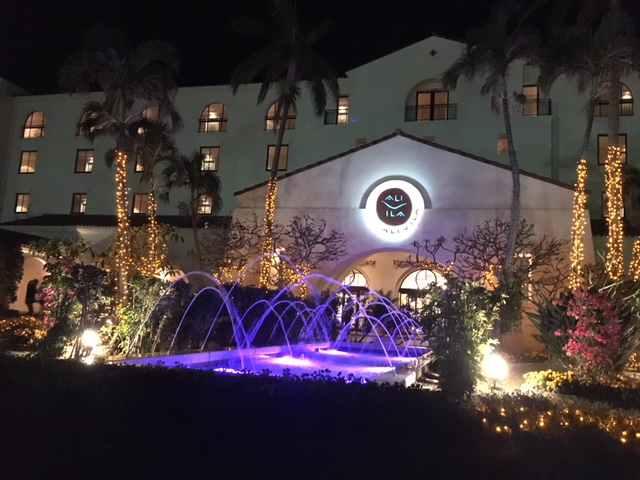 沖縄ホテル日航アリビラーエントランス夜